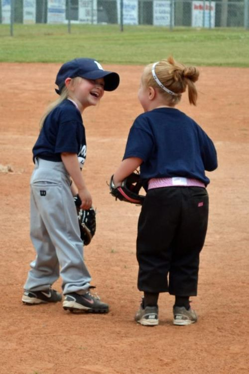 Cute girls playing softball!!