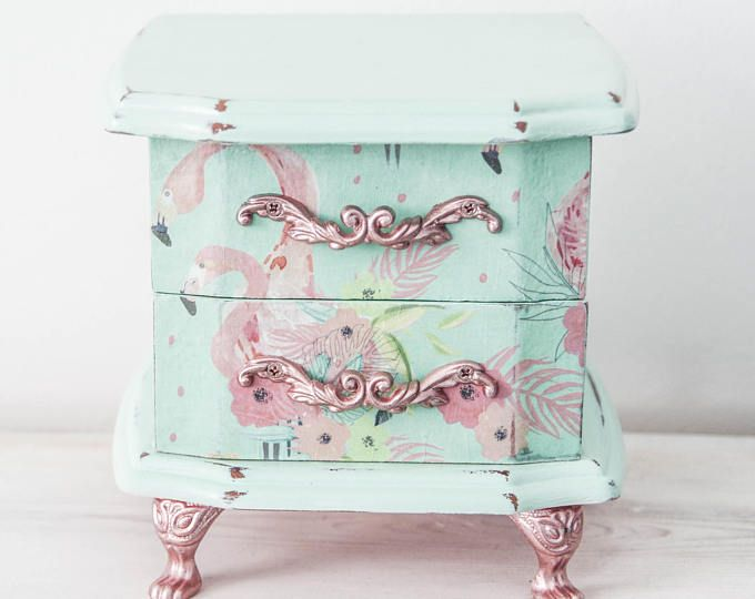 Jewellery Box Small Jewelry Chest Shabby Chic Pastel Green Chalk