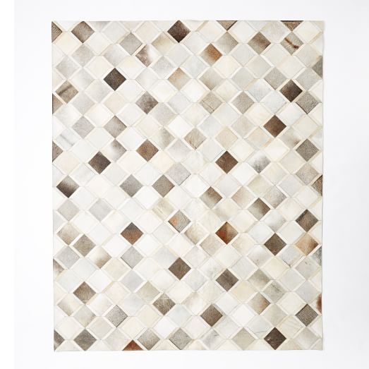 Pieced Patched Cowhide Rug Diamond West Elm Leather Rug