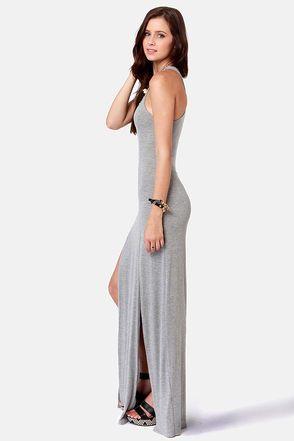 Cute Grey Dress - Maxi Dress - Racerback Dress - $41.00