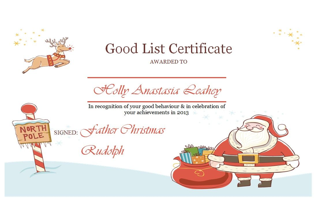 Good List Certificate available to purchase alongside a Personalised ...