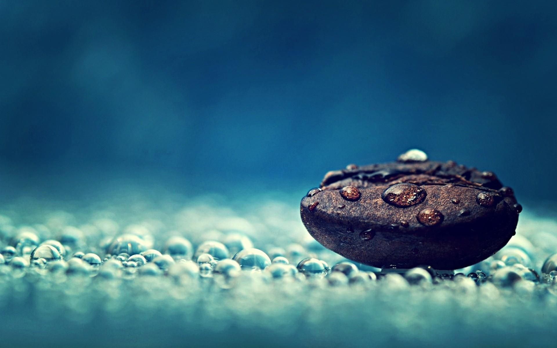 Water drops Relaxation Coffee beans Macro Relaxing HD
