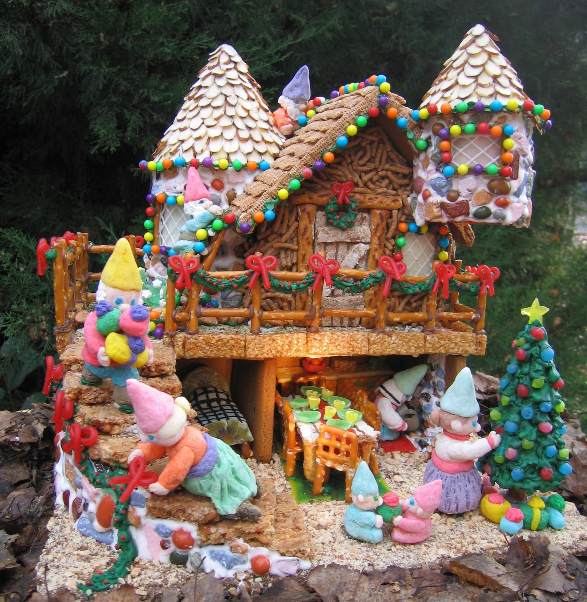 Gingerbread House with nontraditional decorations