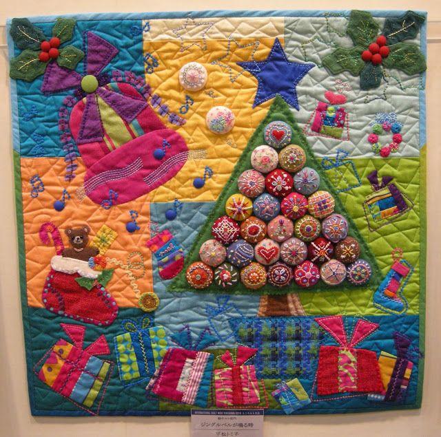 Miniature quilts 'Jingle Bell ga naru toki' by Tomiko Hiramatsu. Yokohama International Quilt Week 2013 - photo by Queeniepatch