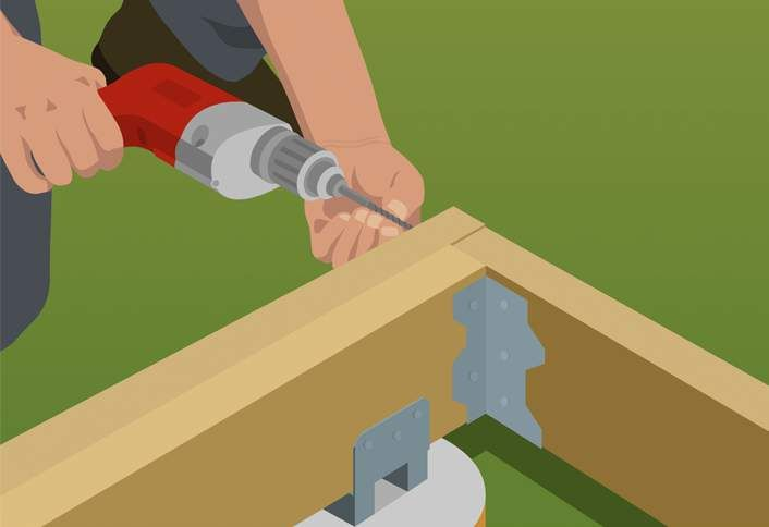 Attach Joists Angle Brackets Build Ground Level Deck Ground