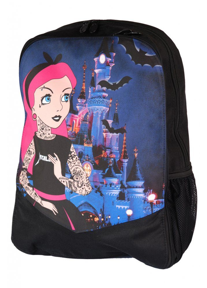 The Tattoo Princess Backpack by Darkside Clothing is a black canvas rucksack with a front print of a gothic Disney princess, with the castle and flying bat in the background. This handy bag has lots of pockets and space inside to keep all your stuff safe!