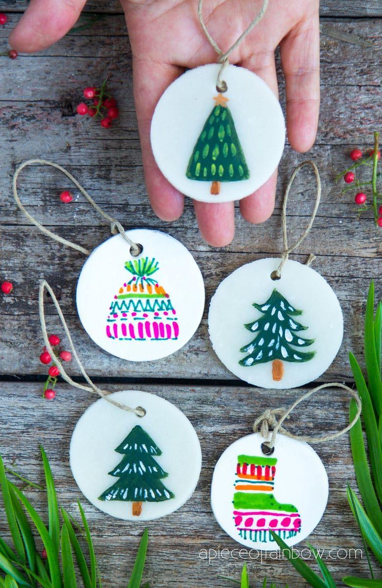 Decorating Homemade Clay Salt Dough Christmas Ornaments Clay Christmas Decorations Diy Air Dry Clay Salt Dough Christmas Ornaments
