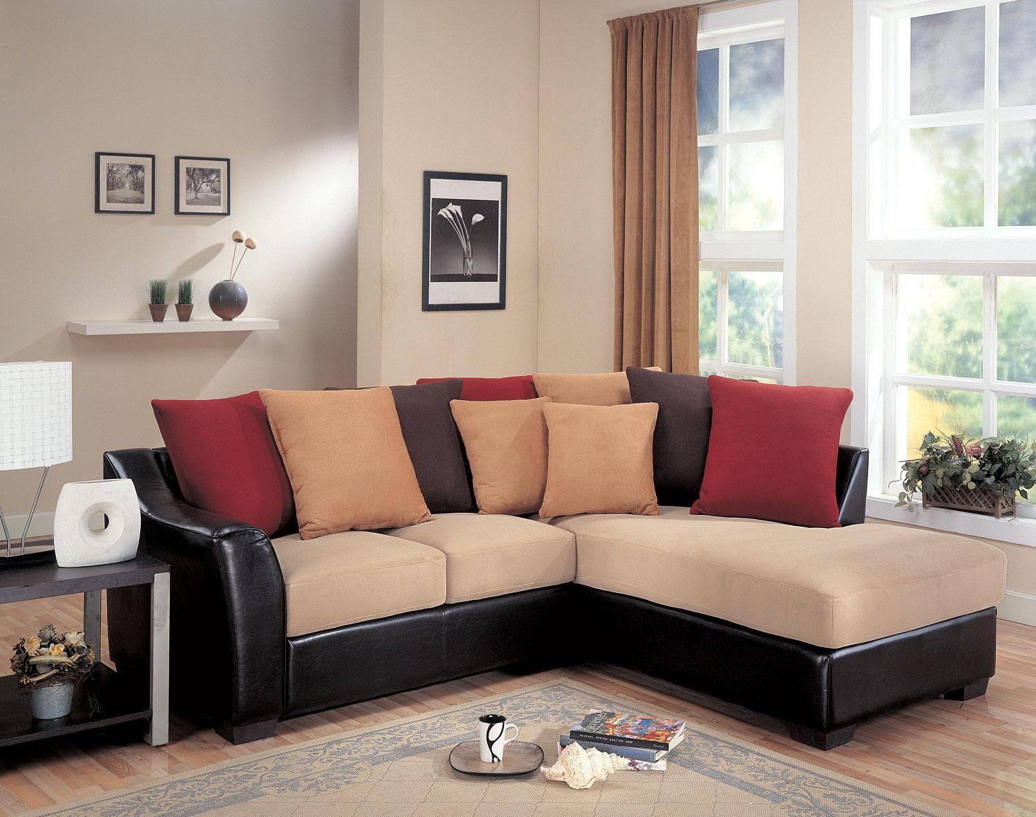 Casual look and feel this loose pillow back design offers multi-colored back pillows. : multi color sectional sofa - Sectionals, Sofas & Couches