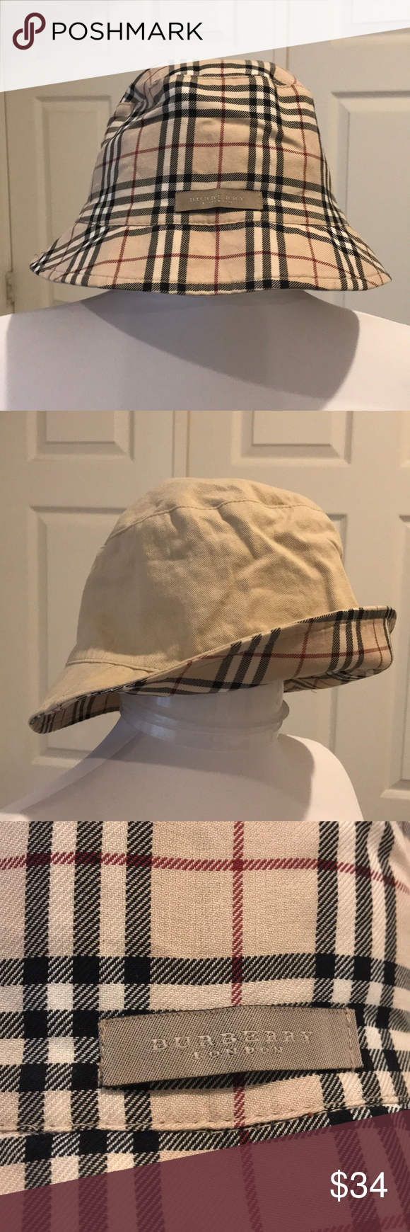 aa5328b4200 Authentic Burberry Hat NWOT 100% Authentic Reversible Burberry Summer Hat.  Solid khaki on one side