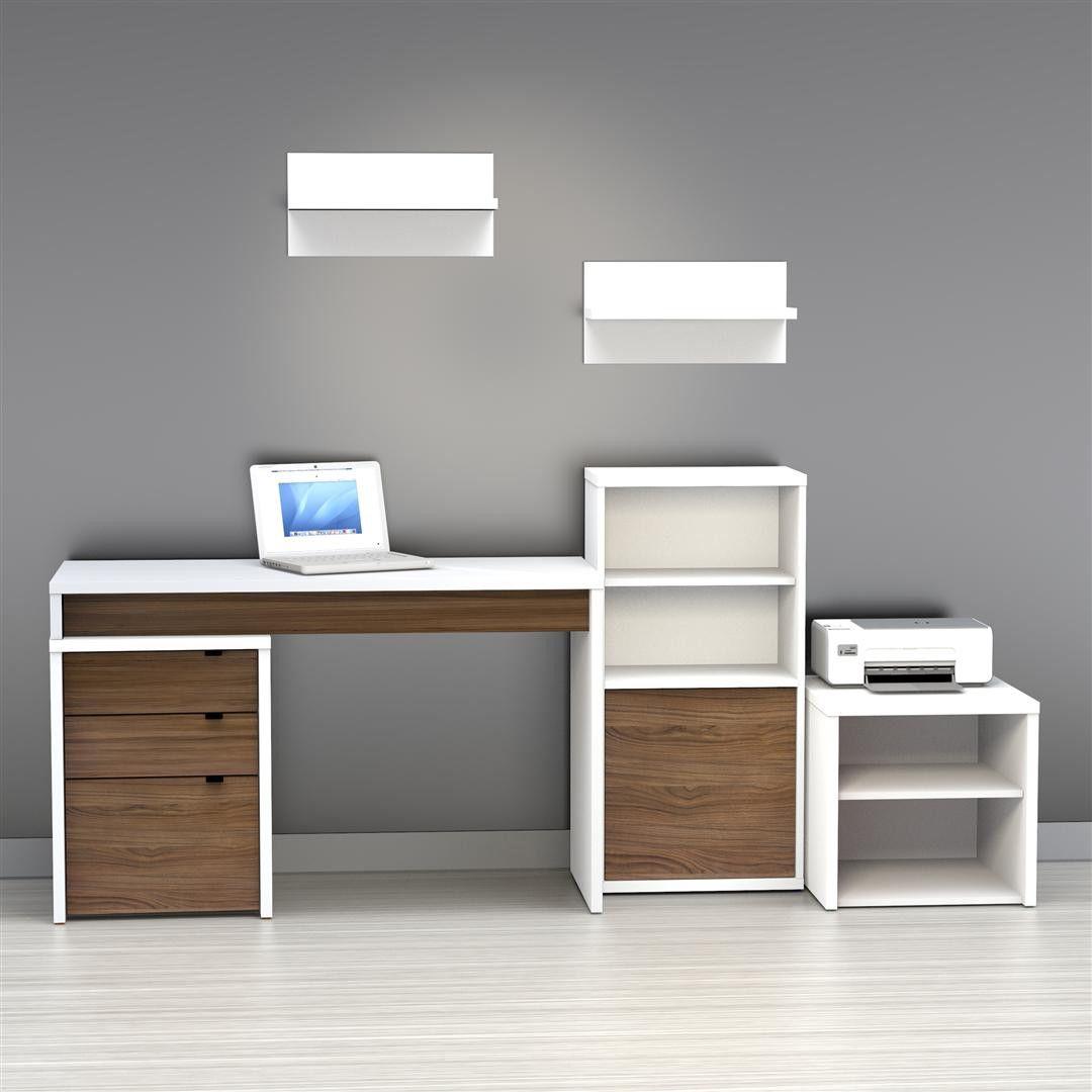 Nexera Brown Liber T 3 Drawer Computer Desk Allmodern Desktop Wallpaper Organizer Home Office Furniture Paint Colors For Living Room