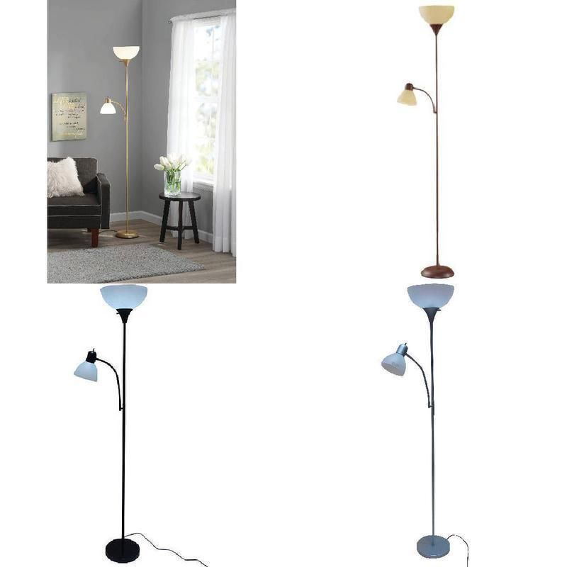 72 Floor Standing Lamp With 3 Way Combo Reading Light Rotary Lighting New Sale Mainstays Floor Standing Lamps Standing Lamp Reading Light
