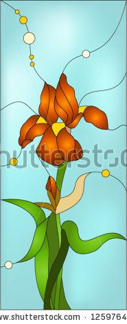 Orange iris flowers / Stained glass window by Elena legkodukh, via Shutterstock
