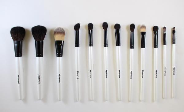 """Powder Brush 6.5"""" (Bristles: Sable) Blush Brush 6.5"""" (Bristles: Sable) Flat Foundation Brush 6.5"""" (Bristles: Synthetic) Angled Shadow Brush 6.5"""" (Bristles: Sabl"""