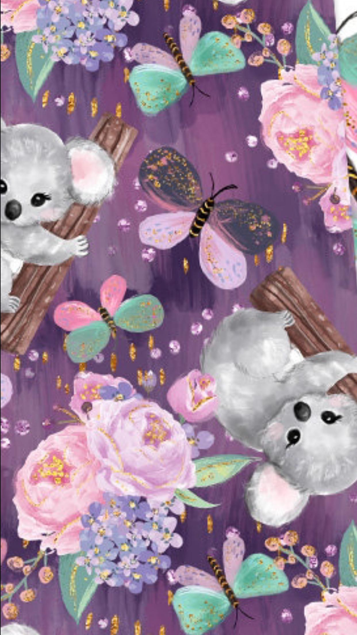 Koala Pattern Flower Wallpaper Pretty Wallpapers Cute Wallpapers