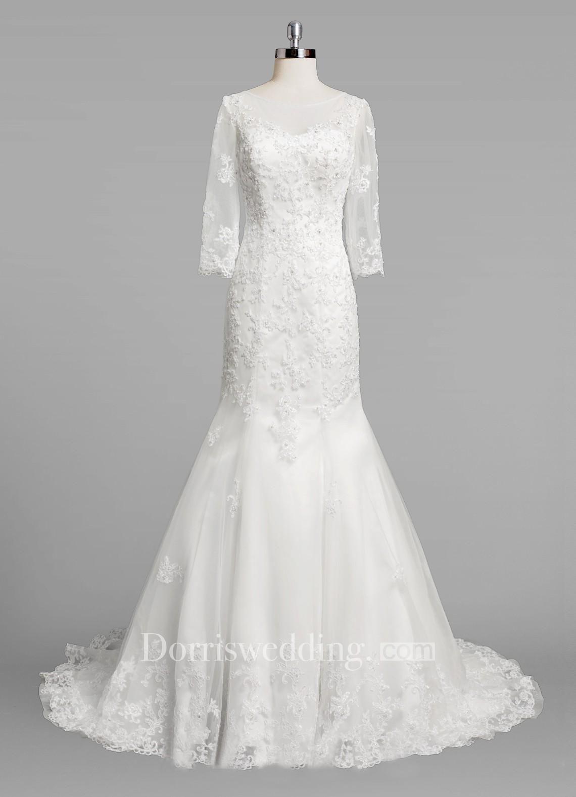 3 4 sleeve lace wedding dress  Valentines AdoreWe Dorris Wedding  Dorris Wedding Bateau Neck