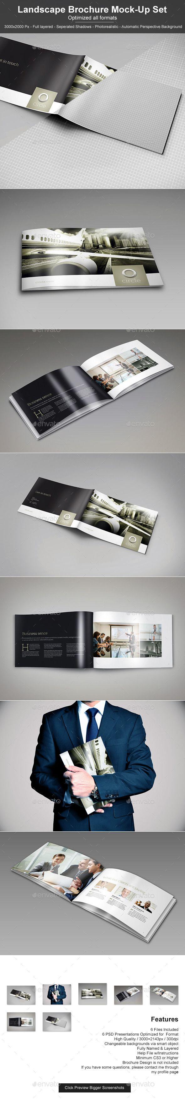 Landscape Brochure Mock-Up Set 2 | Pinterest