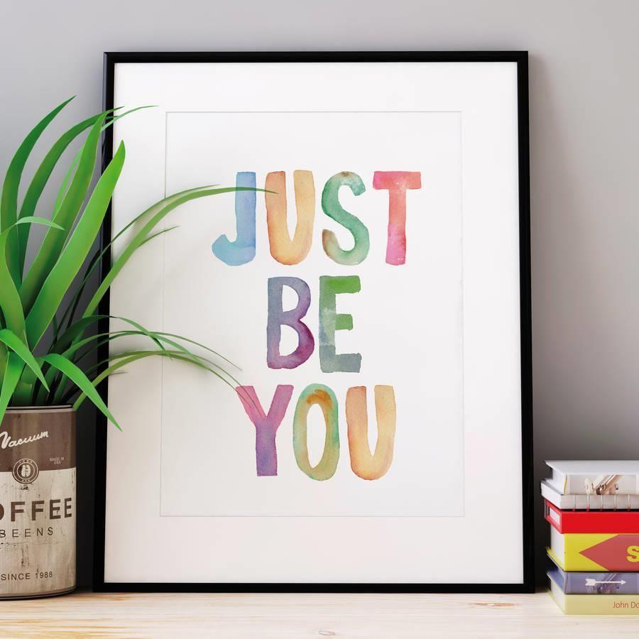 Just Be You http://www.amazon.com/dp/B01BVV51AU motivationmonday print inspirational black white poster motivational quote inspiring gratitude word art bedroom beauty happiness success motivate inspire