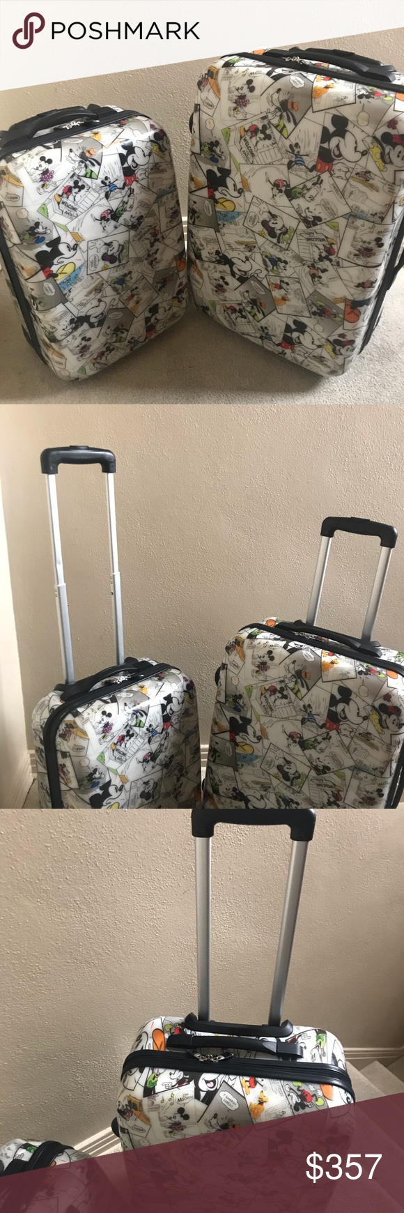 82b21ca9c03 Rare htf Mickey Mouse comic two piece luggage set Hard shell rare to find Mickey  Mouse