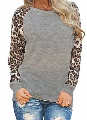 Blouses Neckline My Style Casual Long Sleeve Leopard Cotton Round wtxY4qKTf