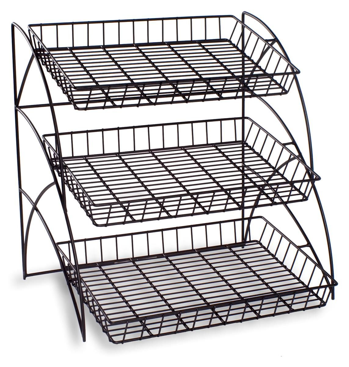 Wire Rack with 3 Tiers for Tabletop, Open Shelving with Rectangular ...