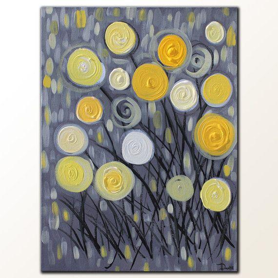 Peinture de fleur jaune sur toile acrylique fleurs abstraites modernes 18 x 24 acrylics by and on for Peinture acrylique sur toile