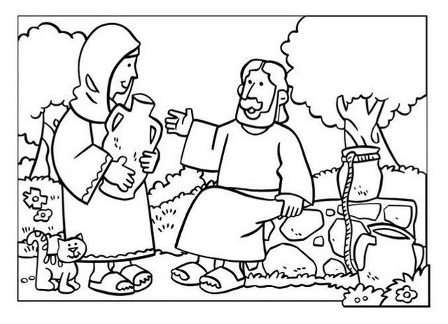 Samaritan Woman at Well Coloring Pages for Children's