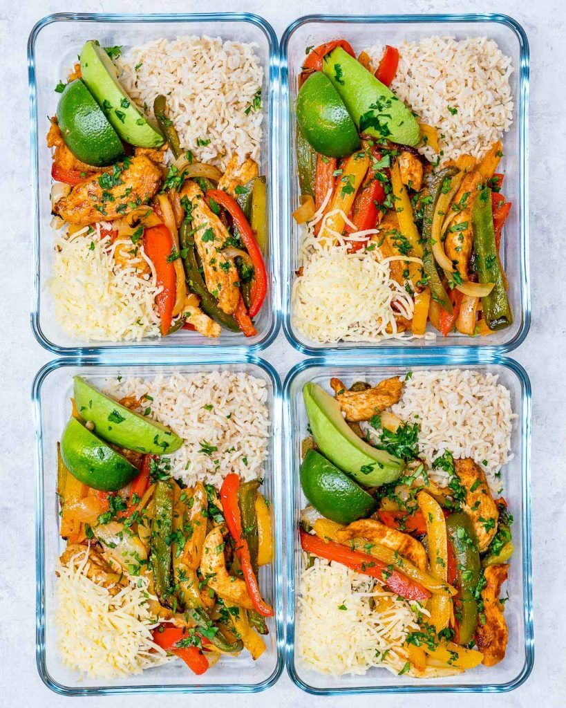 Oven-Baked Chicken Fajita Bowls for Clean Eating Meal Prep! - Clean Food Crush #cleaneating
