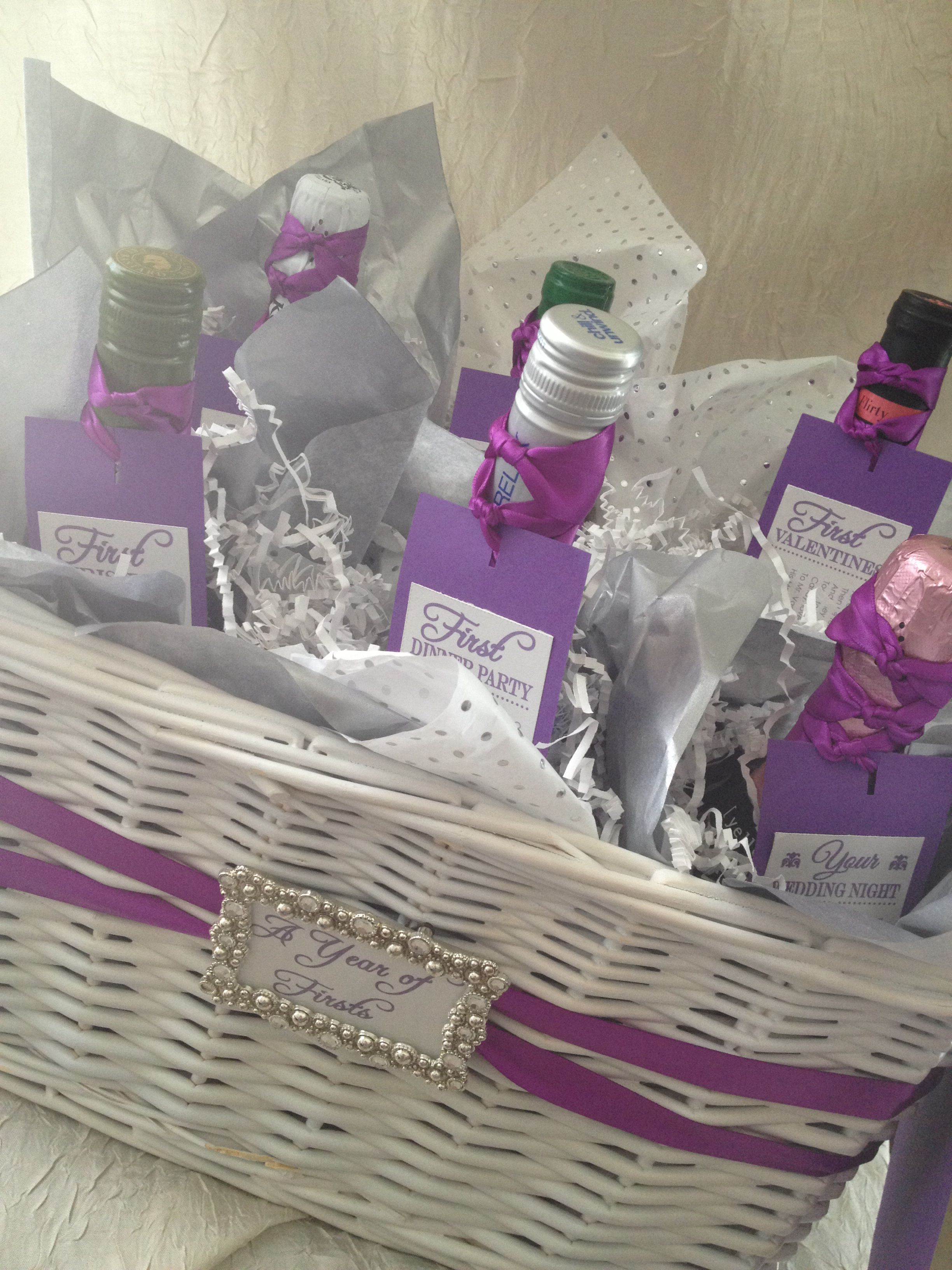 Wedding Wine Gift Basket: Wine Basket Bridal Shower Gift. A Year Of Firsts