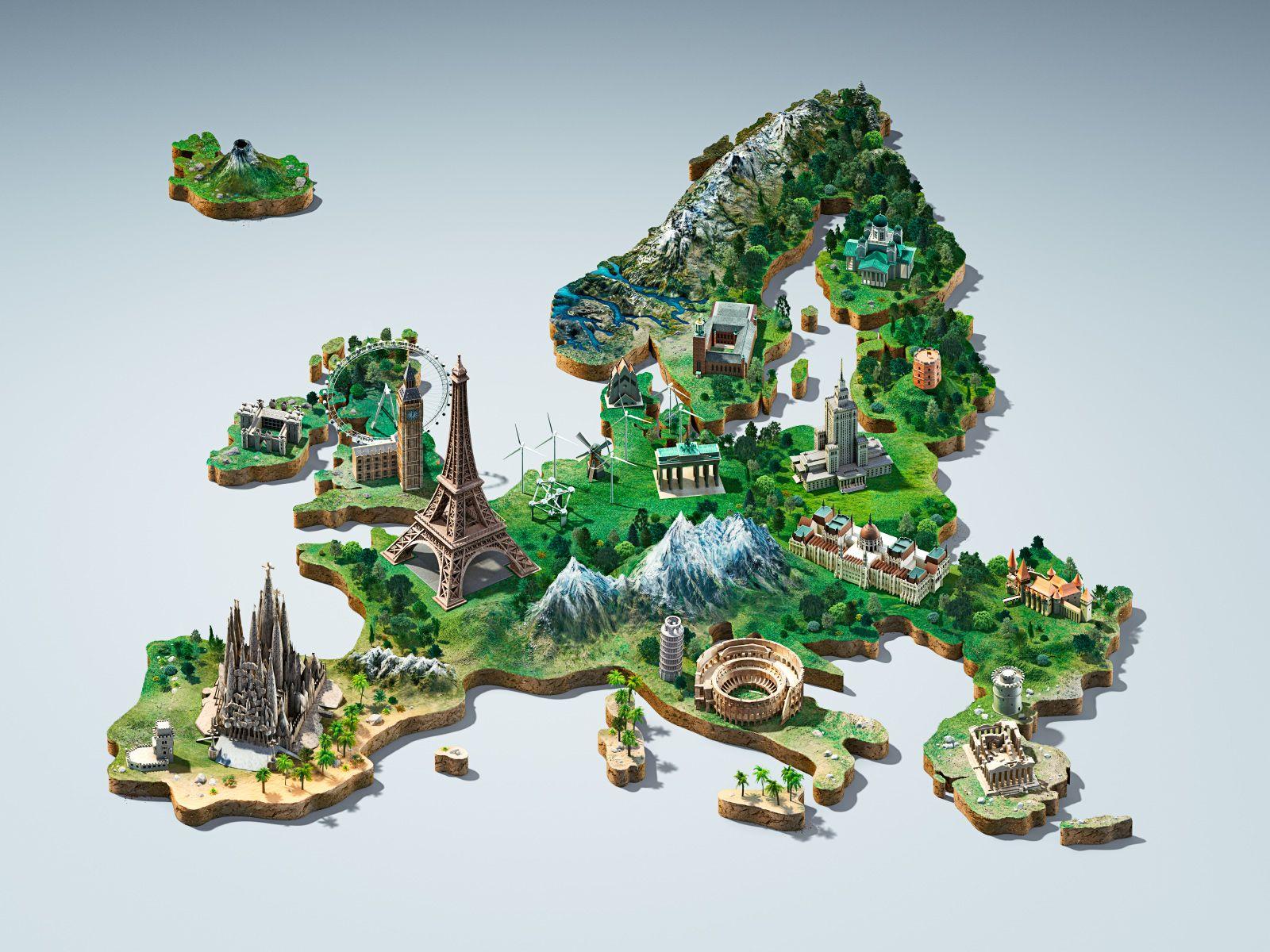 Bite Europe 3d Map Key Visual Visual Illustration Map Symbols
