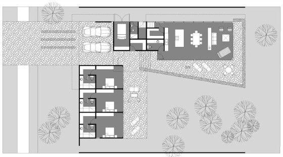 diseo de casa en forma de l con moderna fachada y decoracin de interiores