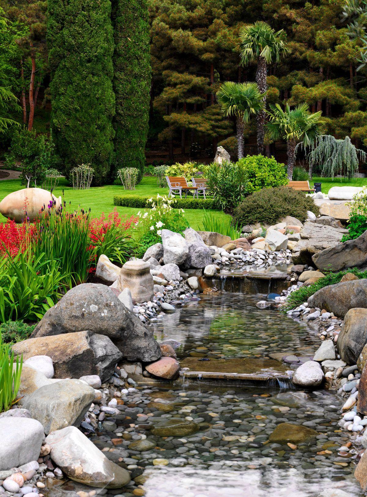 Garden stream | Garden stream, Garden pool design ...