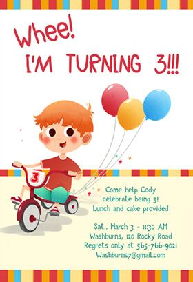 Whee I Am Turning 3 Printable Invitation Template Customize Add Text And Photos Print Or Download For Free