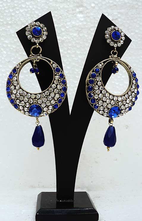 Blue Stone Studded Earring Online Ping Jjr6930