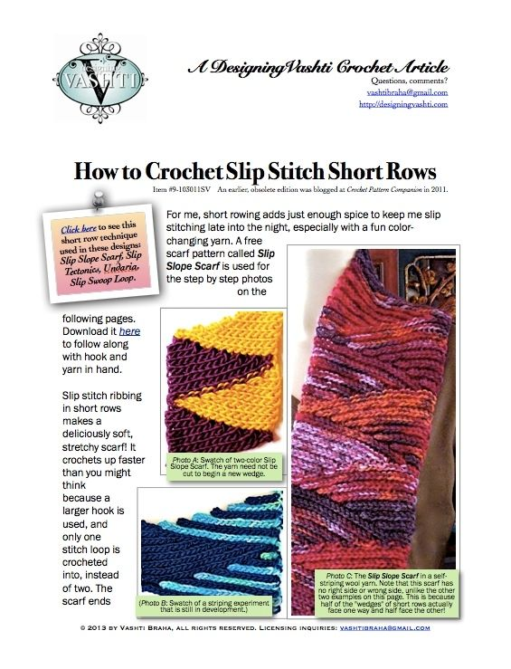 How to Crochet Slip Stitch Short Rows: Photo Tutorial