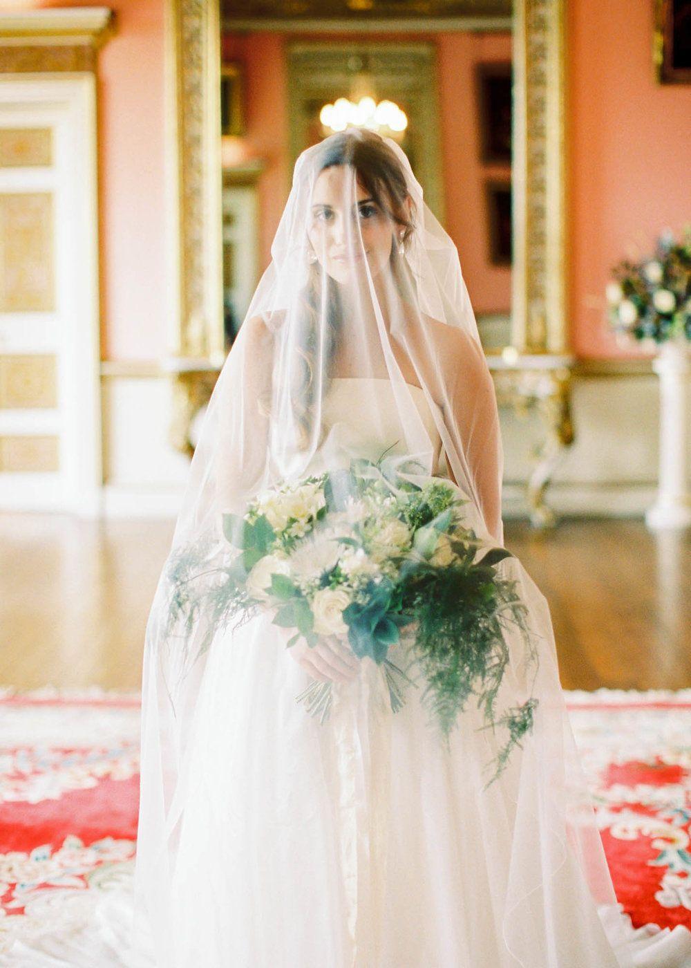 Amy O'Boyle Photography- Destination & UK Fine Art Film Wedding Photographer- Avington Park-43.jpg long veil over face (fuji 400h, pentax 645n)
