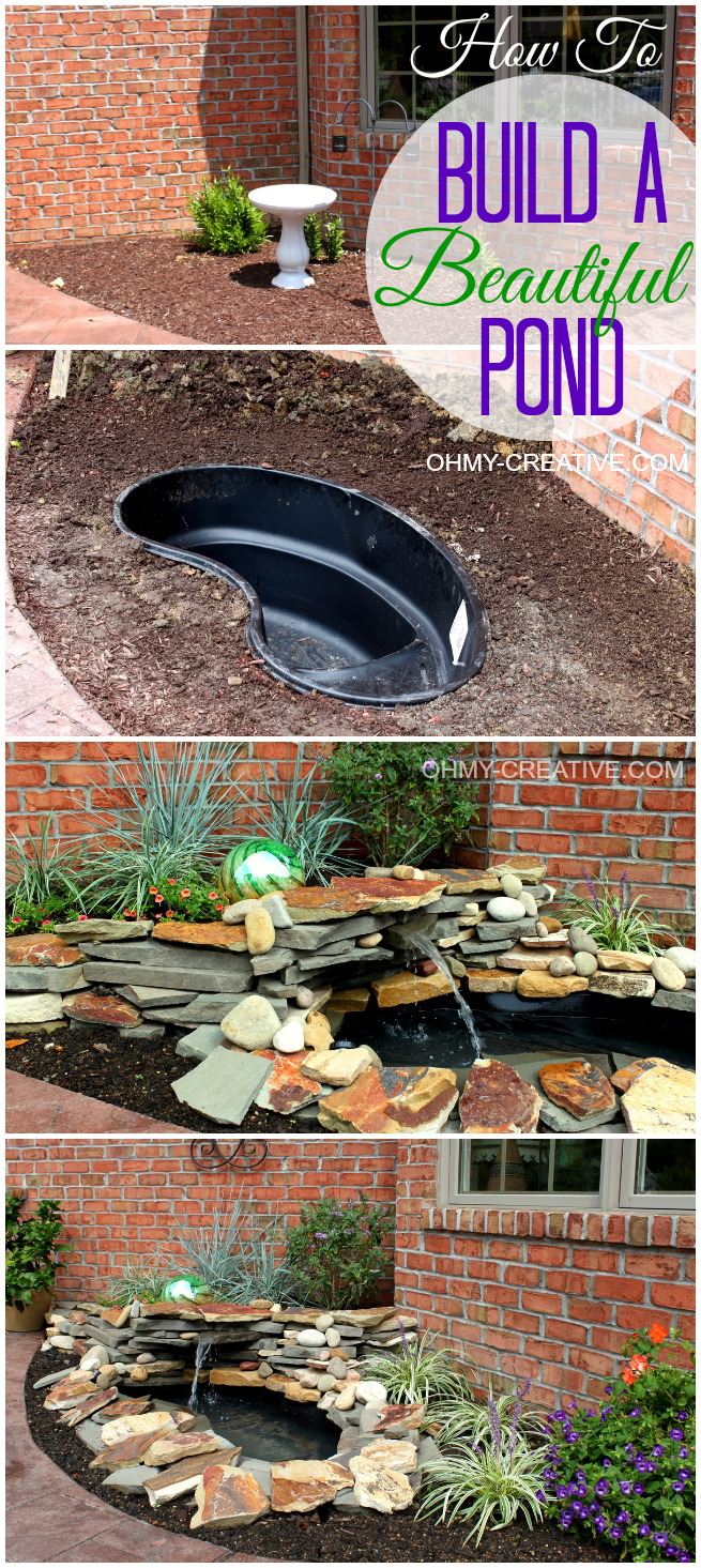 How to build a beautiful back yard pond and water feature cheaply! |  OHMY-CREATIVE.COM #Pond #Fountain #Garden - How To Build A Pond Waterfall Step By Step For The Home Ponds