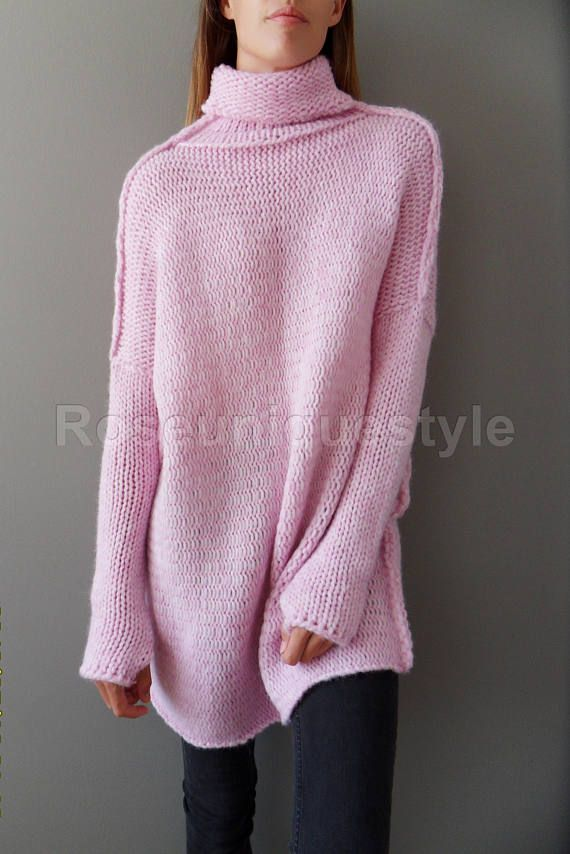 5569fedf6 Pink Oversized Slouchy sweater. Alpaca chunky knit sweater ...