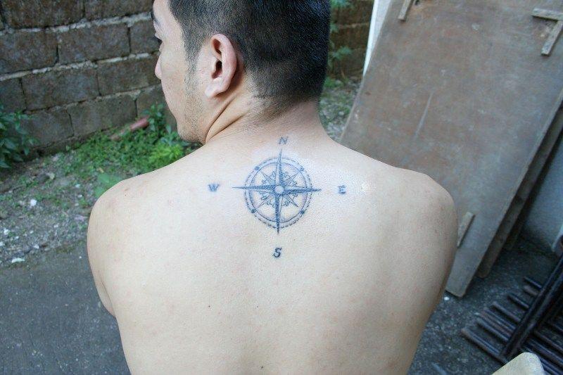 Center Back Compass Tattoo Tattoos For Guys Tattoos