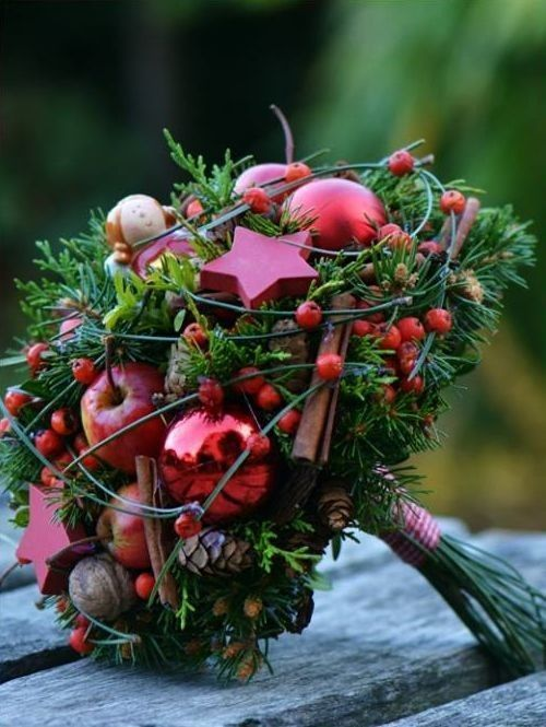 Cosy Velveteen Red/Burgundy Wedding Bouquet of Christmas hue