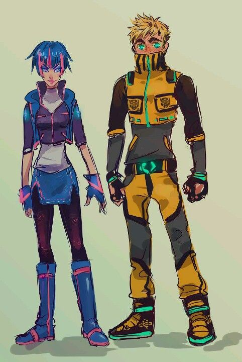 Arcee and Bumblebee humanized, I love how bumble bee's eyes light up
