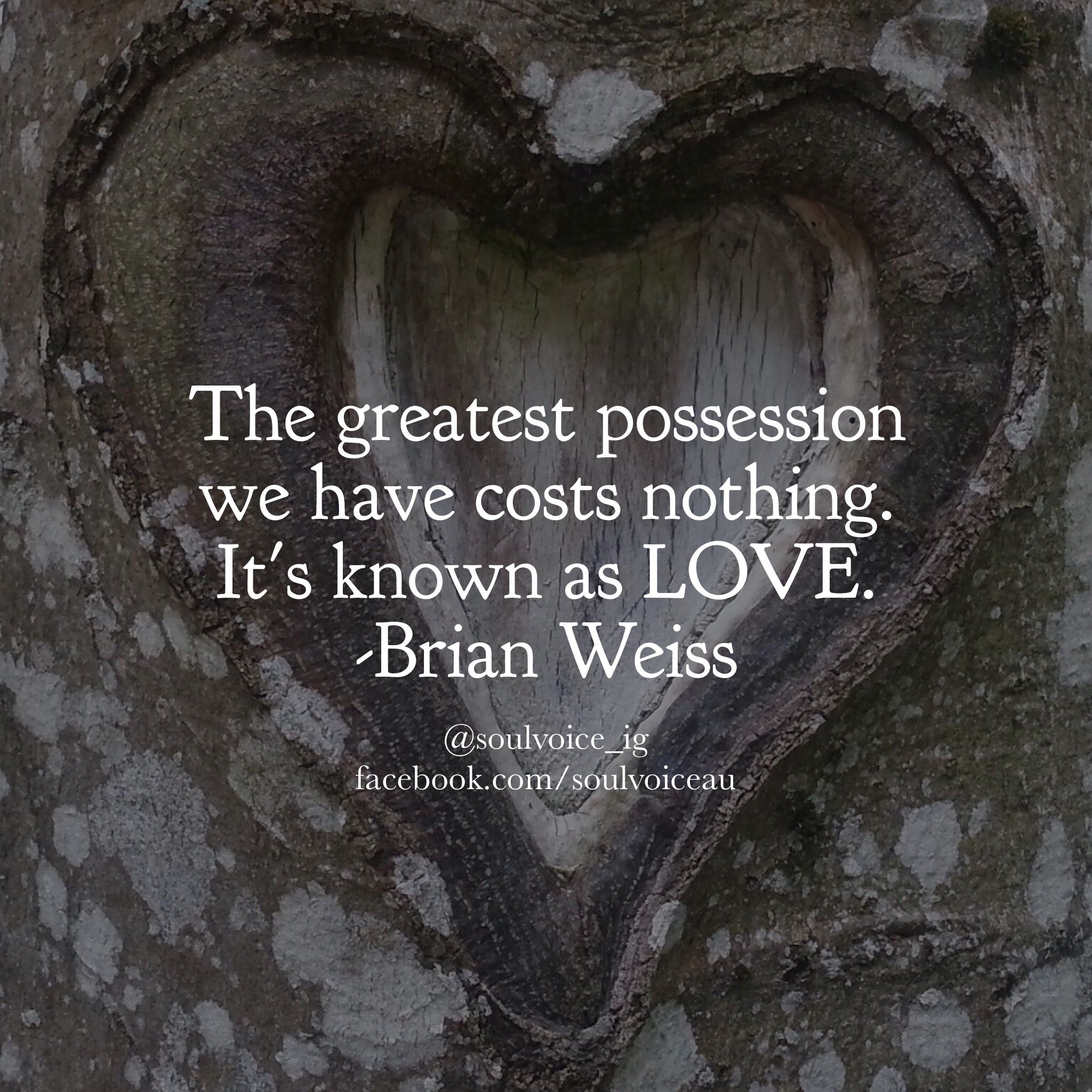 The Greatest Possession We Have Costs Nothing It S Known As Love Brian Weiss Brian Weiss Words Inspirational Quotes