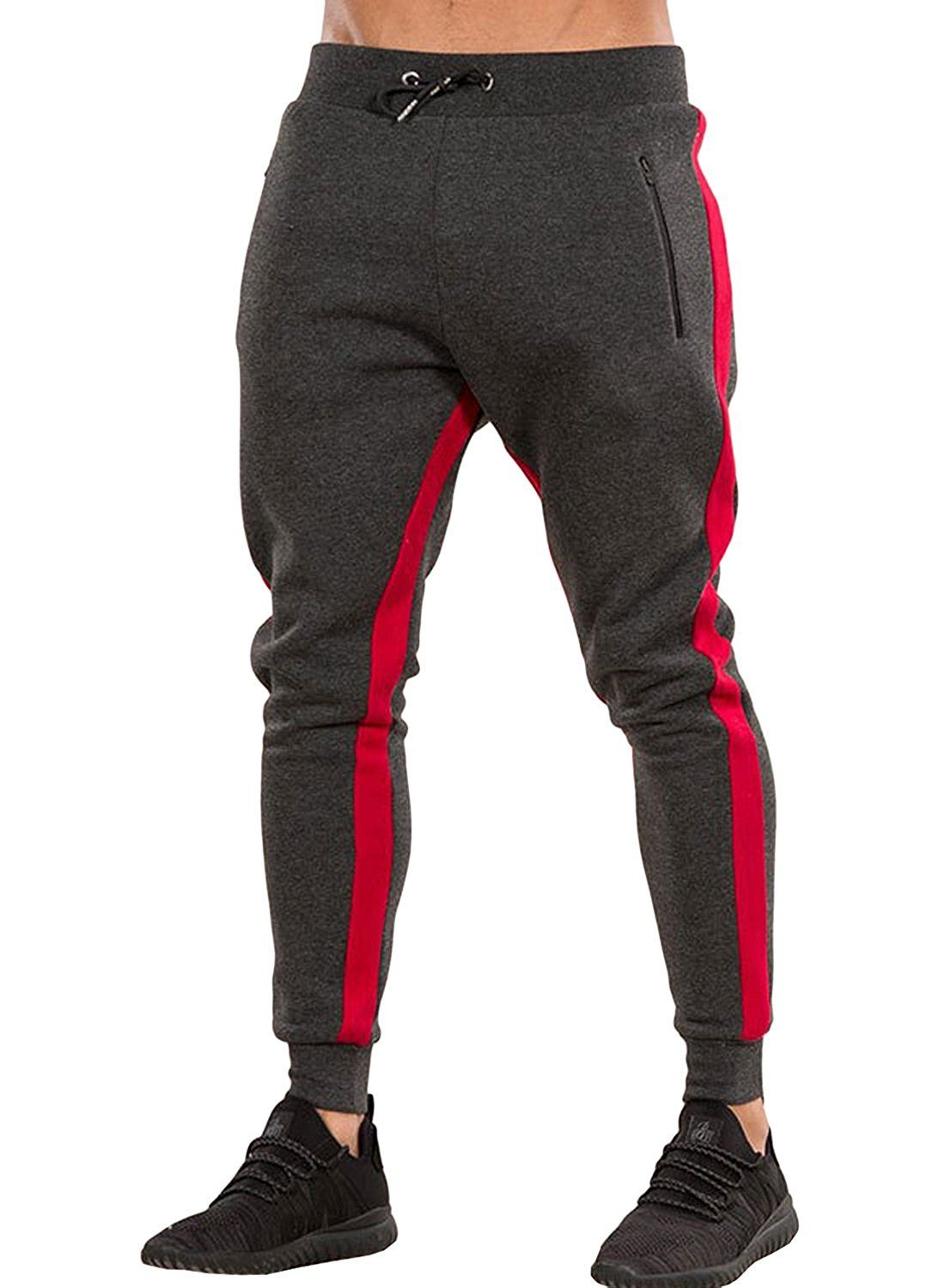 4dcf94ab9251 Amazon.com  Ouber Men s Gym Jogger Pants Slim Fit Workout Running Sweatpants  with Zipper Pockets  Clothing