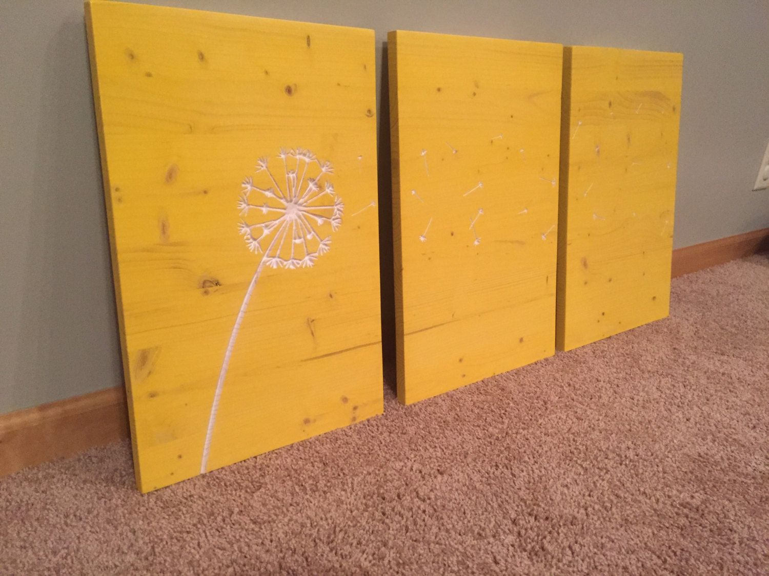 Dandelion Wall Art, wood, Engraved, Carved, hanging sign, Blowing ...