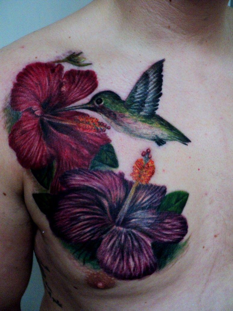 Hummingbird And Hibiscus Tattoo On Chest Hibiscus tattoo