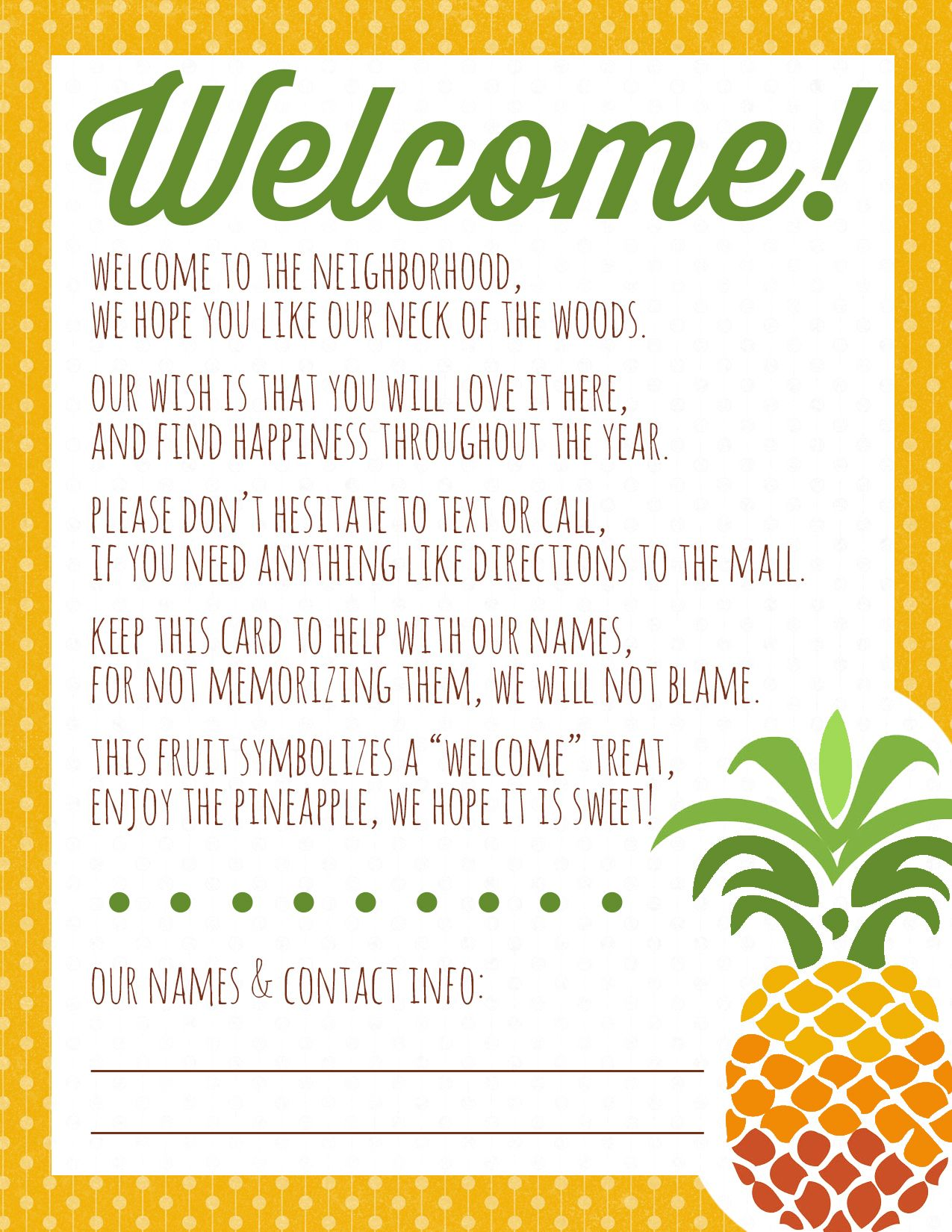 Welcome to the Neighborhood Pineapple Gift + Printable | Pineapple ...