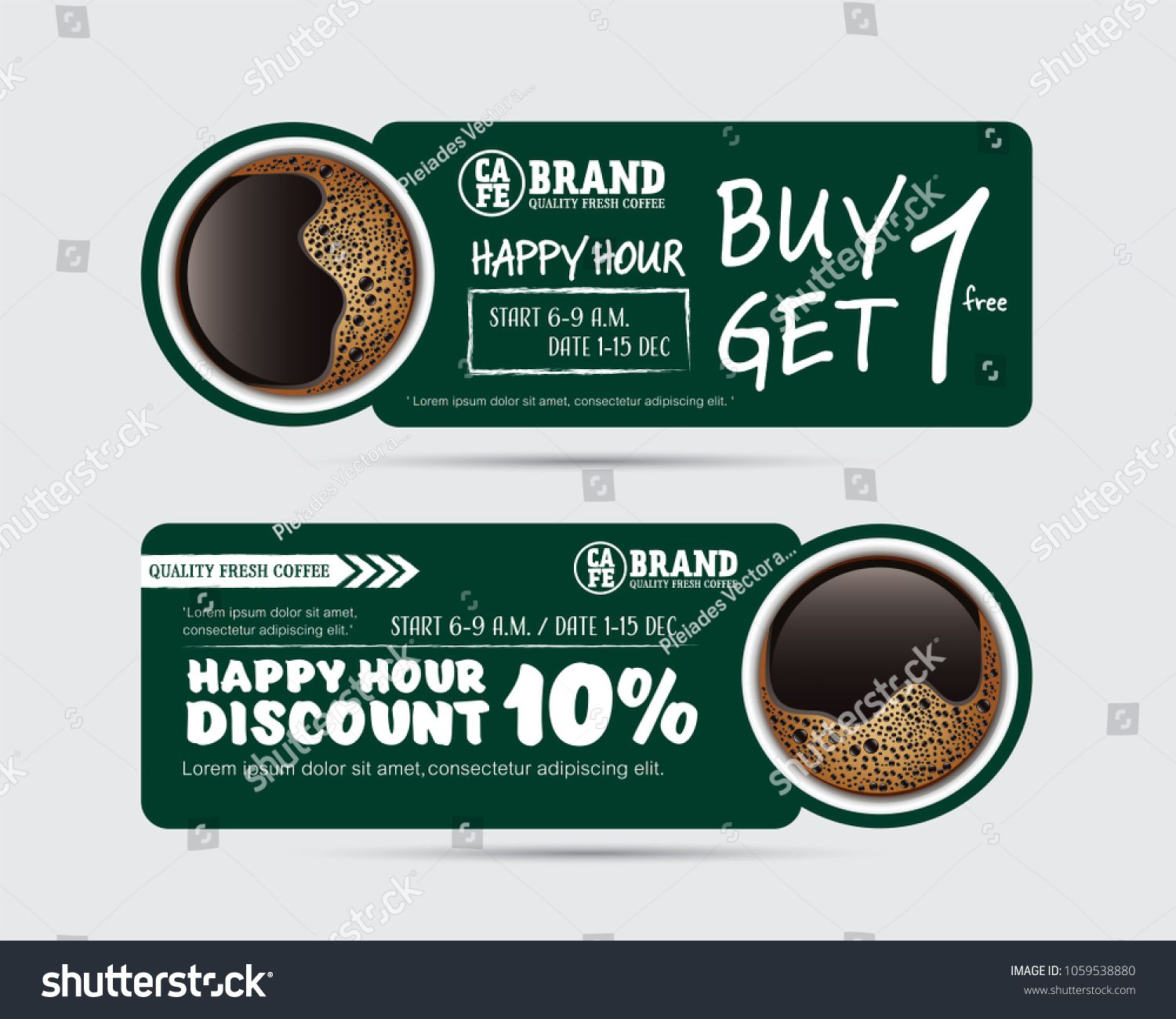 Vector Illustration Gift Voucher Coupon Cafe Coffee Beverage Buy