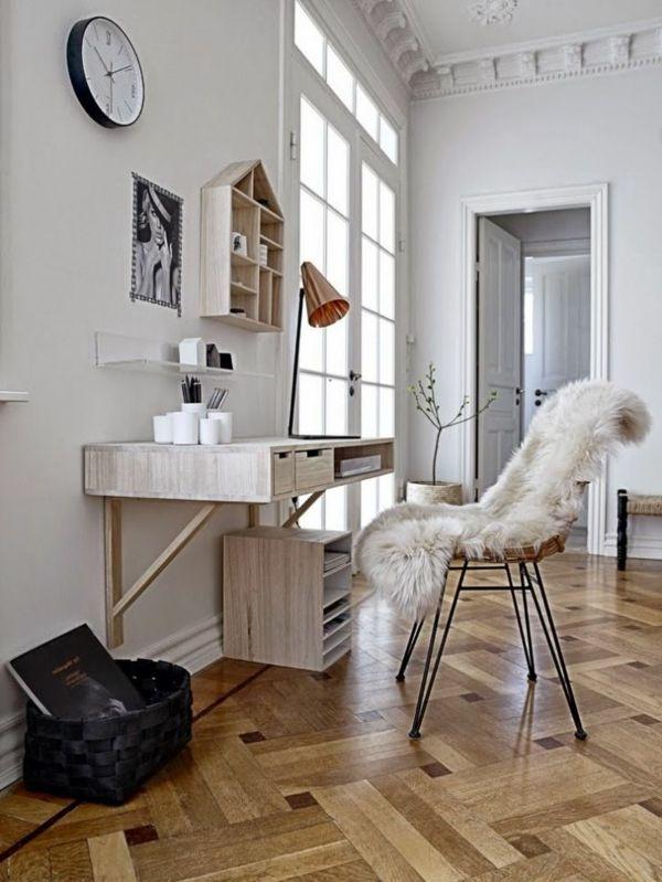 Bureau suspendu en bois et un int rier blanc scandinave bureau pinterest - Bureau suspendu ikea ...