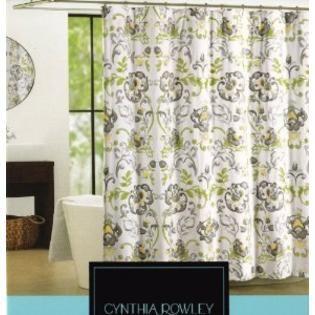 Cynthia Rowley Napoli Scroll Fabric Shower Curtain In Shades Of