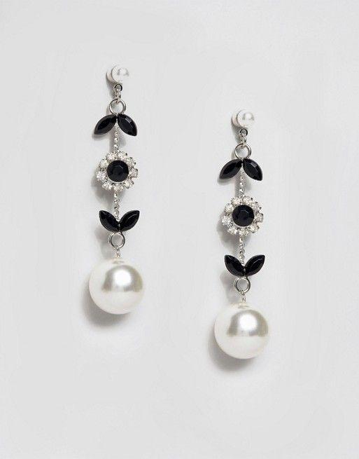 ASOS Vine Faux Pearl Strand Earrings