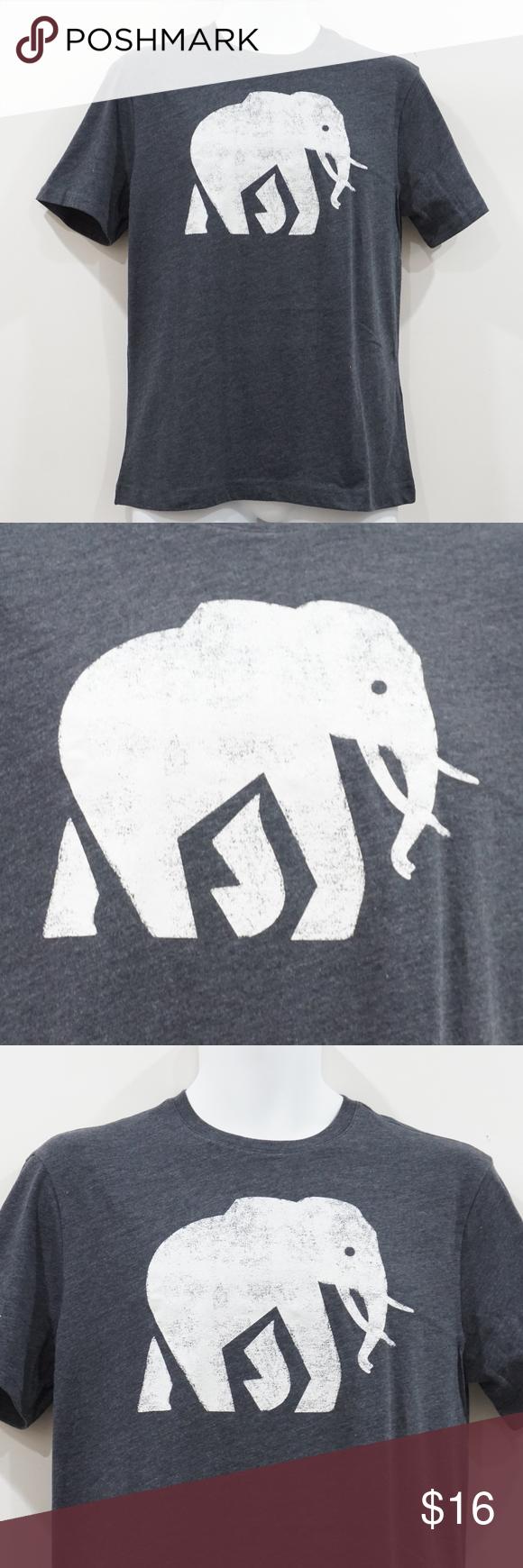 Banana Republic Elephant Logo Gray Graphic Tee NWT (With